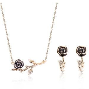 Rose Pendant Necklace and Earring Set
